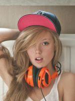 Blonde with headphones