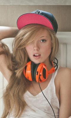 Blonde with headphones