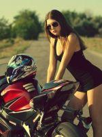 Brunette-And-Suzuki-Motorbike