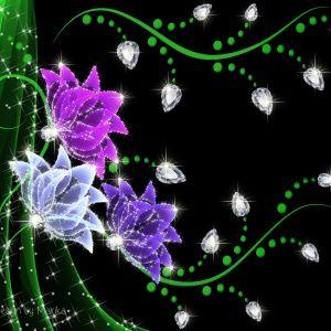 Flowers Diamonds Desktop Background