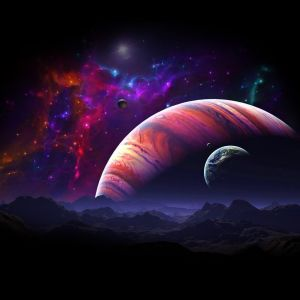 Purple Space Above The Mountains Fantasy