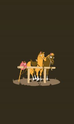 Real And Toy Horses Funny Mobile Wallpaper     X