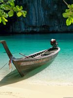 Beautiful boat in green water