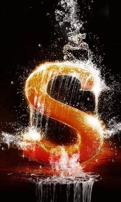 Alphabet S Splashed in water