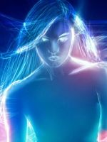 Women Abstract Blue Lights Multicolor Digital Art  D    X