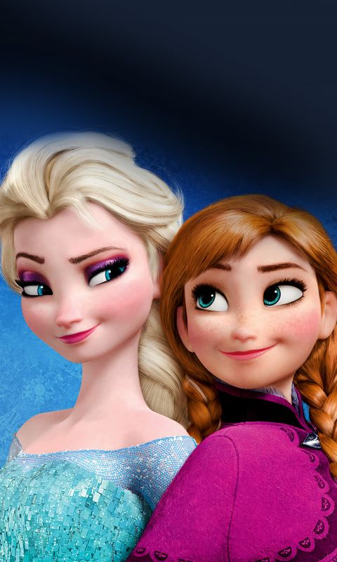 Elsa And Anna Frozen Cartoon Mobile Wallpaper     X