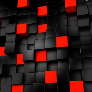 Abstract Black And Red Cubes     X