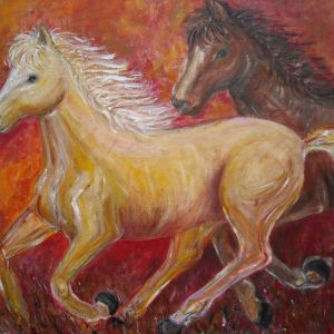 Running Blond And Brown Horses