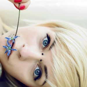 Blondes Blue Eyes Julia Piercings Short Hair     X