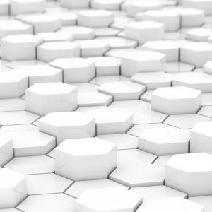 Hexagonal white tiles