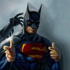 Funny Superman Batman Galaxy Wallpaper