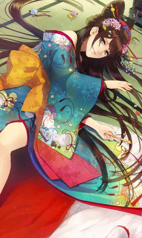 Beautiful Geisha Anime Mobile Wallpaper     X