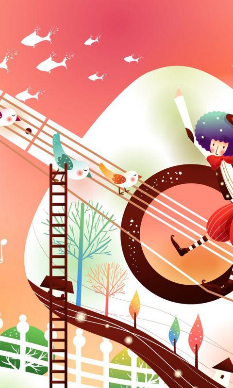 Widescreen Abstract Music Wallpaper