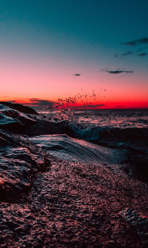 body of water during sunset wallpaper