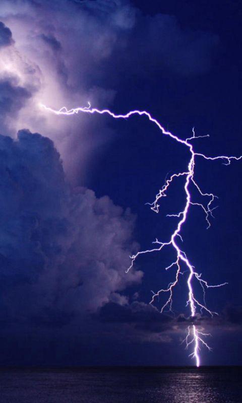 Storm Lightning Over Lake Night Sky View wallpaper
