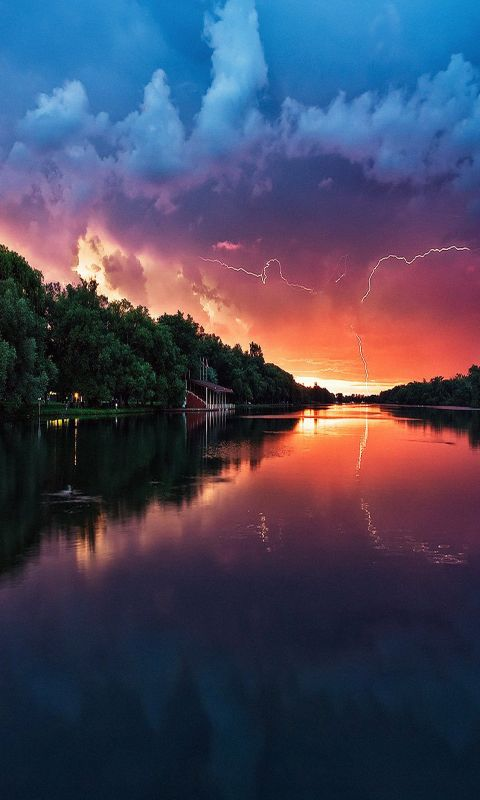 Lightening reflected lake wallpaper