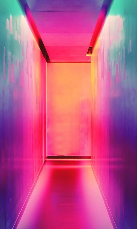 multicolored hallway wallpaper