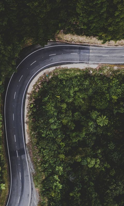 Street Road Mountain Nature Aerial view wallpaper