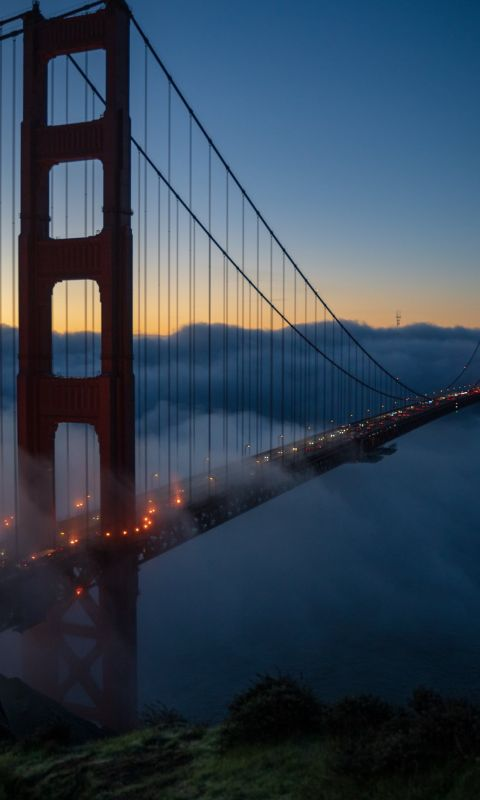 Golden Gate bridge at nighttime wallpaper