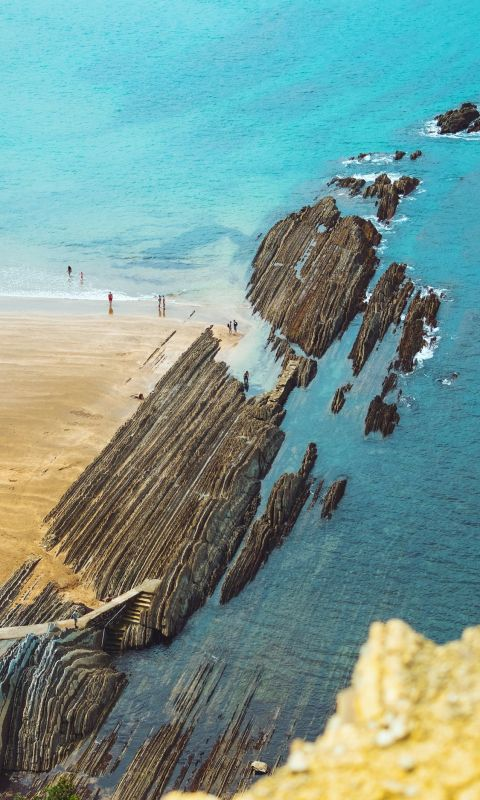 aerial view photography of ocean wallpaper