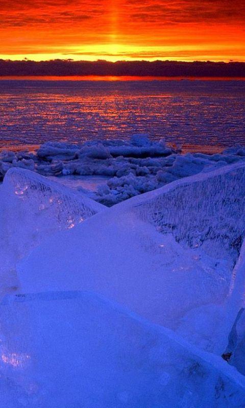 Nature Ocean Sunset Iceberg Glacier Landscape wallpaper