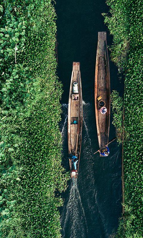Earthview Green Sky Illustration Art wallpaper