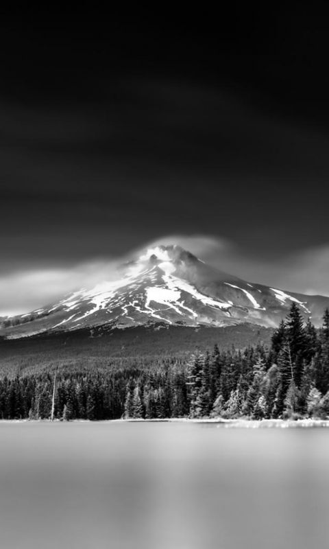 Nature Snowy Mountains Lake Grayscale Landscape wallpaper