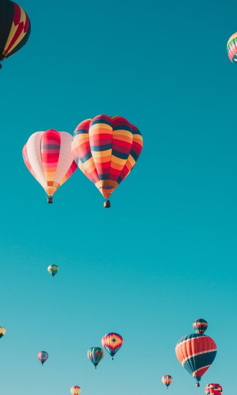 assorted hot air balloons flying at high altitude ... wallpaper