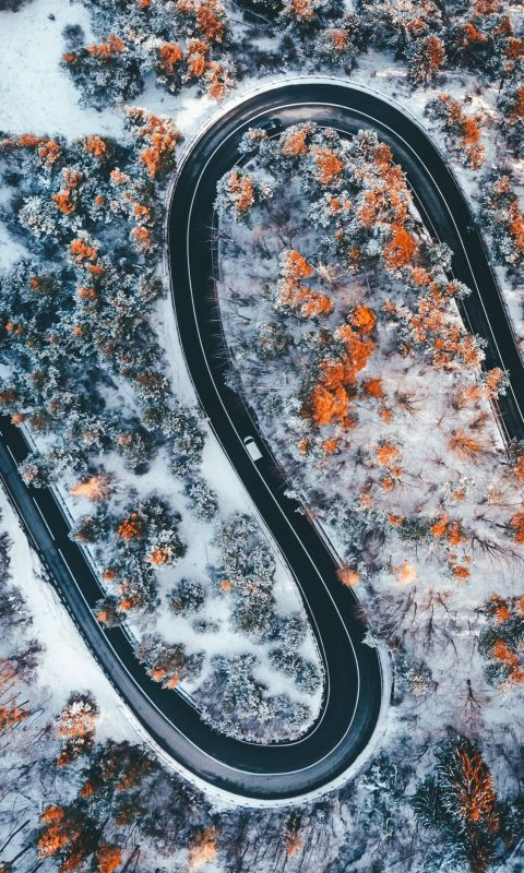aerial photography of wavy road wallpaper
