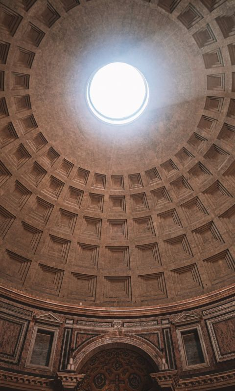 inside Pantheon temple in Rome Italy wallpaper