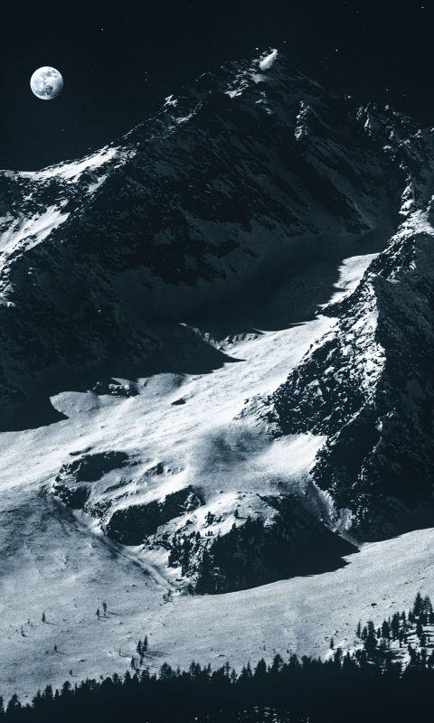 glacier mountains during night wallpaper