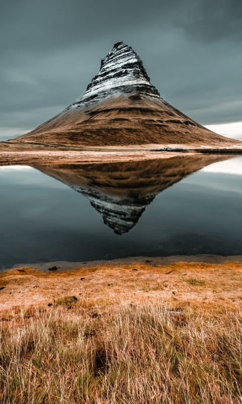 cone mountain with the distance of body of water wallpaper