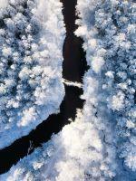 river near snow forest wallpaper