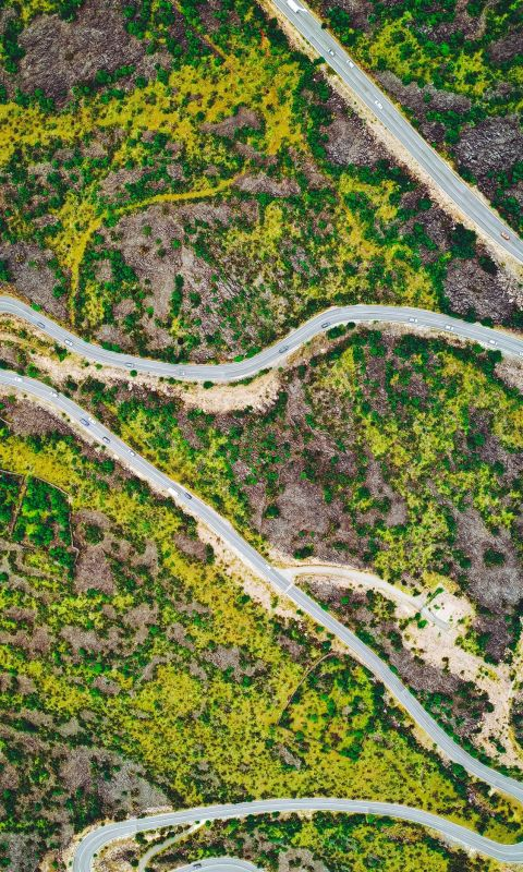 aerial photography of road wallpaper