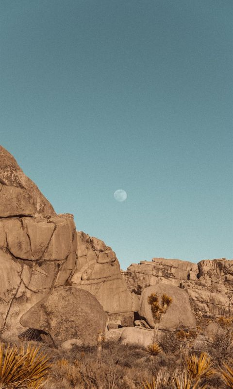 brown rock formation under blue sky during daytime wallpaper