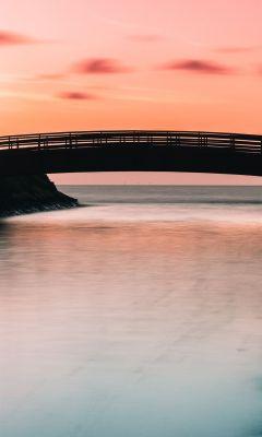silhouette of bridge wallpaper