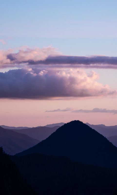silhouette photography of mountain range wallpaper