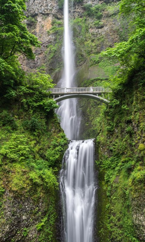 gray concrete bridge and waterfalls during daytime wallpaper