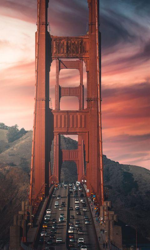 brown bridge over the river wallpaper