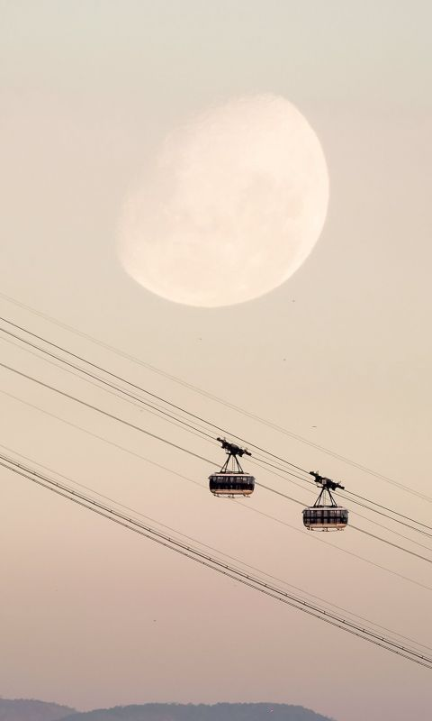 two black cable cars wallpaper