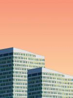 two gray high rise building illustrations wallpaper