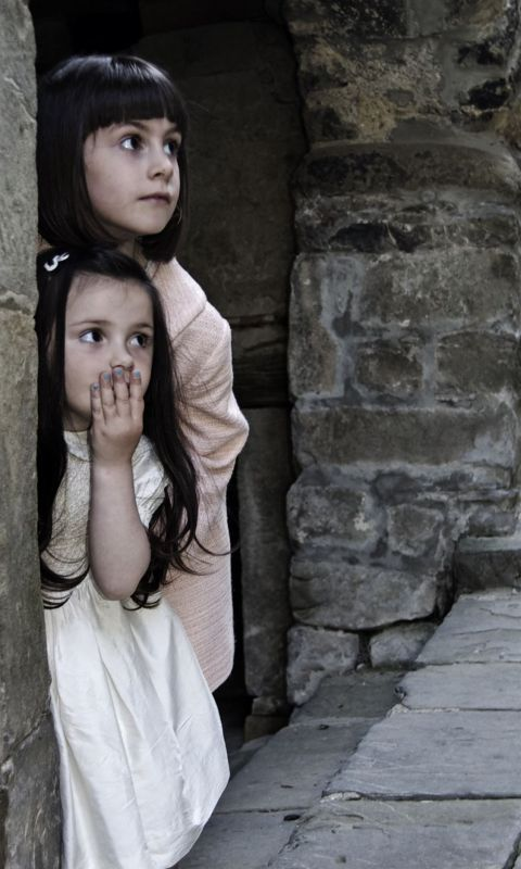 kids children girls hiding surprised play and wallpaper