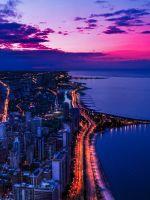 Chicago city night sky view scape ocean beach wallpaper