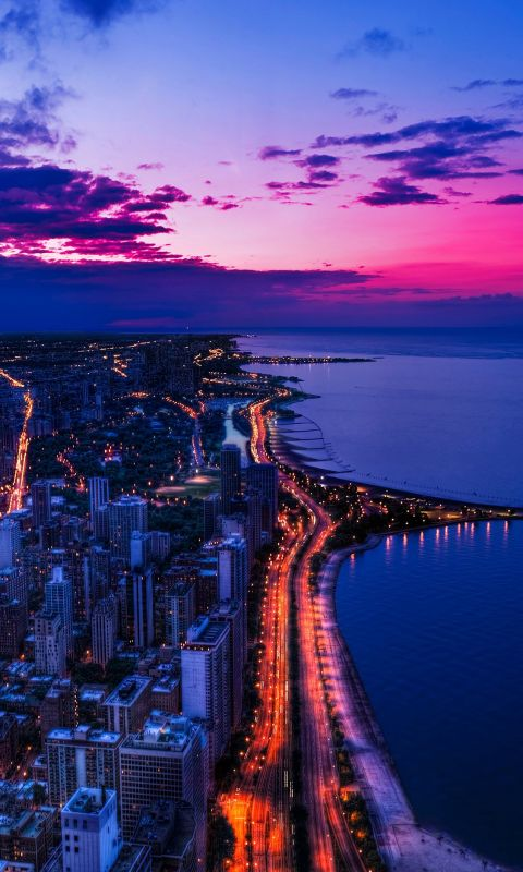 Chicago city night sky view scape ocean beach wallpaper